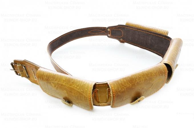Патронташ охотничий «№70» - натуральная кожа, 12 калибр - 24 патрона
