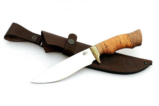 Нож Близнец, ст.65х13, береста, литье
