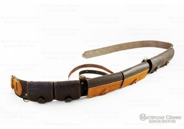 Патронташ охотничий «№75» - натуральная кожа, 12 калибр - 28 патронов