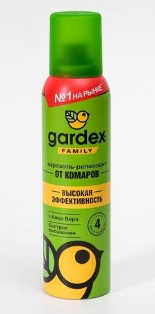 Аэрозоль репеллентный от комаров Gardex Family, с алоэ вера, 150 мл