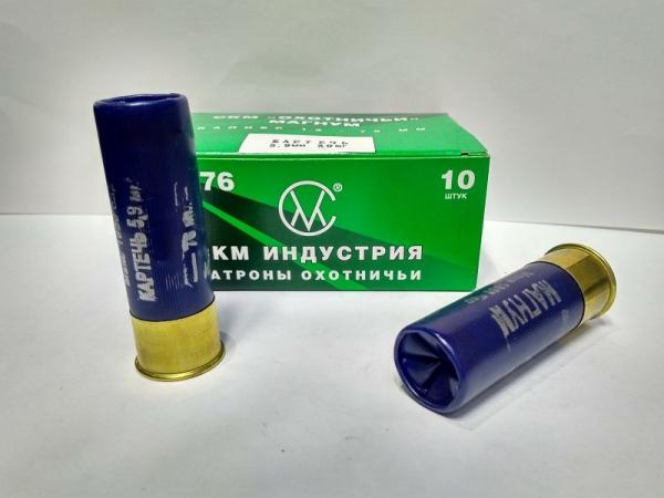 Патрон охотничий СКМ, кал. 12/76, Картеч 5,9 мм, 43 гр, п. Импорт