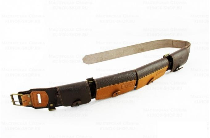 Патронташ охотничий «№73» - натуральная кожа, 12 калибр - 20 патронов