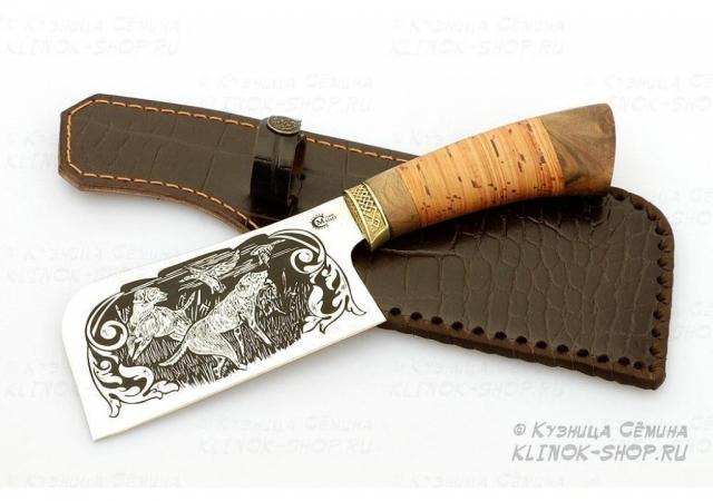 Нож для мяса «Мясной-1» - клинок с гравировкой, из стали 65Х13 береста