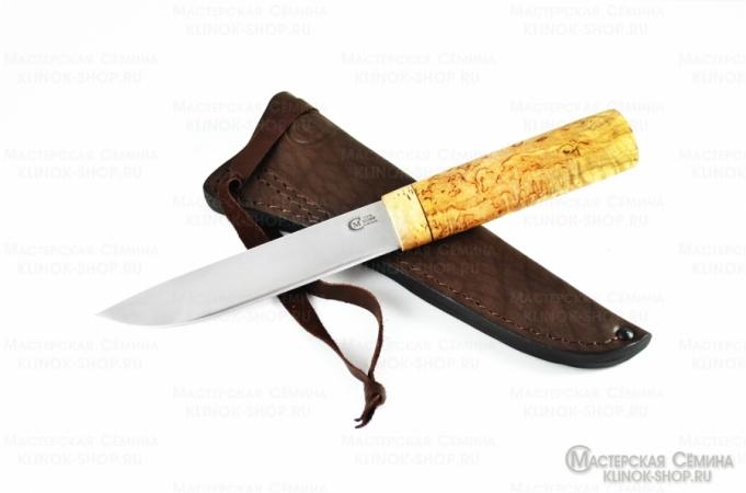 Кованый нож из стали х12мф «якутский средний» с рукоятью из карельской березы