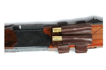 Патронташ из натуральной кожи под два нарезных патрона на цевье для штуцера (п-31)