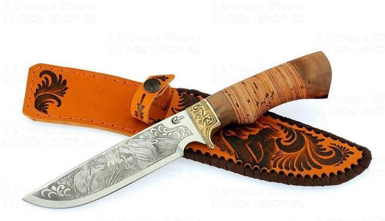 Нож Лорд, ст.65х13, береста, литье, гравировка