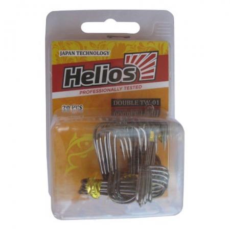 Крючок двойной TW-01 №1 цвет ВС (20шт) Helios HS-TW-01