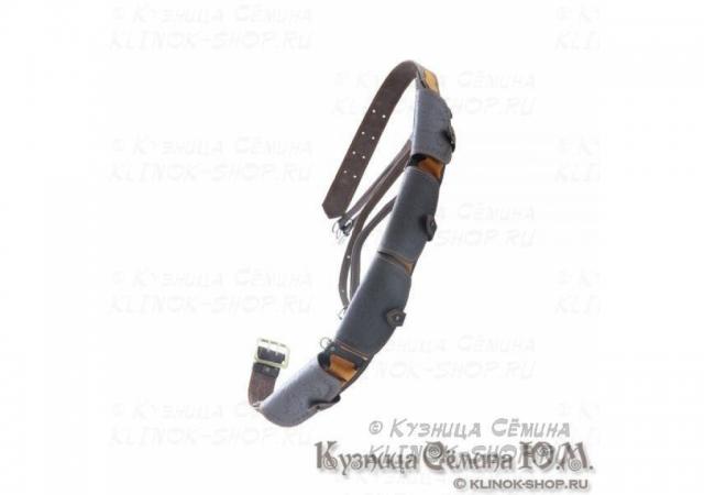 Патронташ охотничий «№25А» - натуральная кожа, 12 калибр-24 патрона, ремень и утятница
