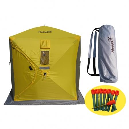 Палатка зимняя куб 1,8х1,8 (3желтый/2серый) Helios