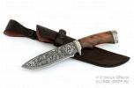 Нож из дамасской стали «близнец» - рукоять из ореха и литья из мельхиора и гравировкой на клинке